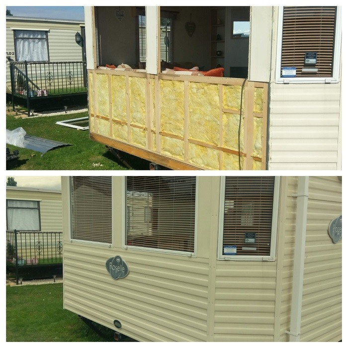 This is static caravan panels being fitted