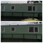 This is a picture of a static caravan with a new roof fitted