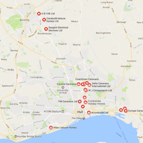 This is a map of all the static caravan manufacturers in hull